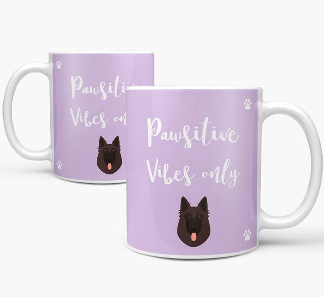 'Paw-sitive Vibes Only' Mug with Belgian Shepherd Icon