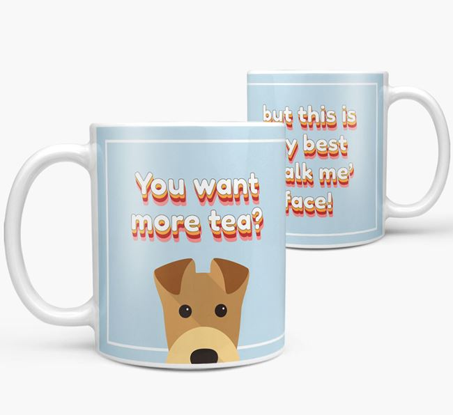 'You want more tea?' Mug with Airedale Terrier Icon