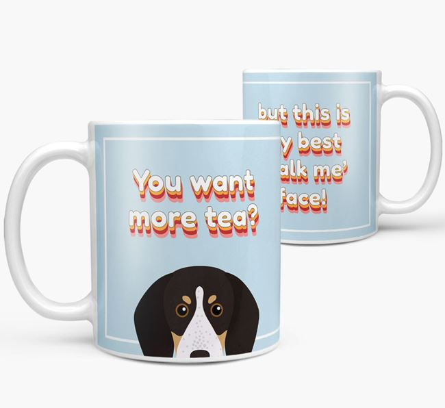'You want more tea?' Mug with English Coonhound Icon