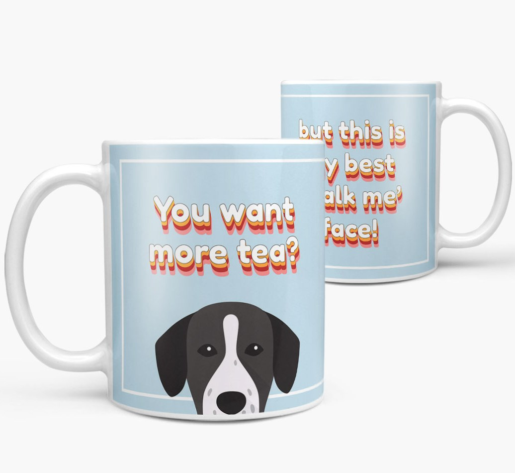 'You want more tea?' Mug with Springador Icon both views