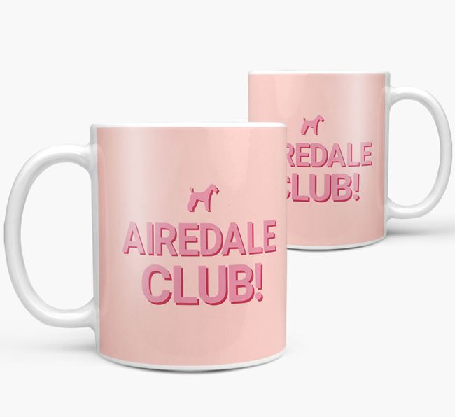 'Airedale Club!' Mug with Airedale Terrier Silhouette