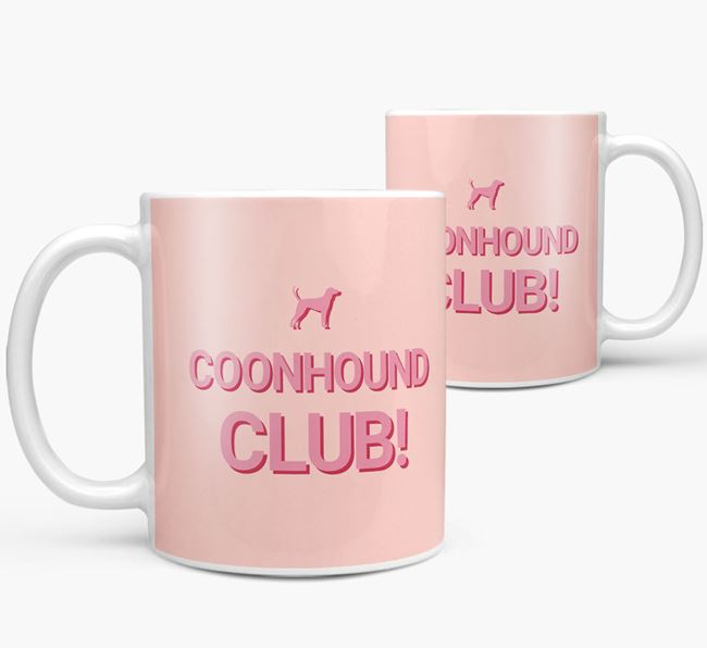 'Coonhound Club!' Mug with Black and Tan Coonhound Silhouette