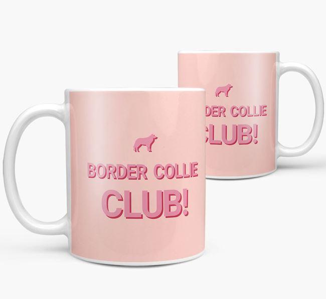 'Border Collie Club!' Mug with Border Collie Silhouette