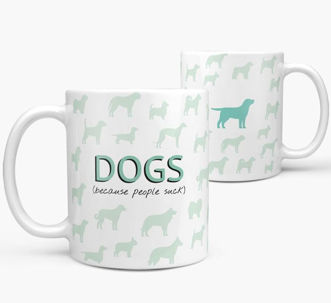 'Dogs...Because People Suck' Mug with Curly Coated Retriever Silhouette