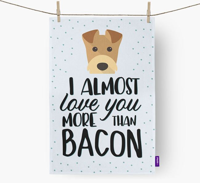 'More Than Bacon' Tea Towel with Airedale Terrier Icon