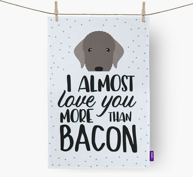 'More Than Bacon' Tea Towel with Bedlington Terrier Icon