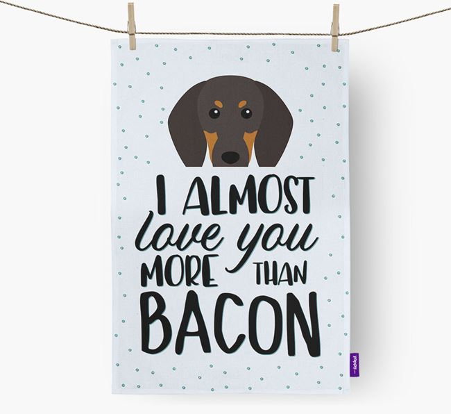 'More Than Bacon' Tea Towel with Black and Tan Coonhound Icon