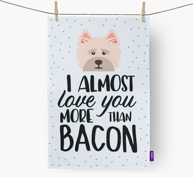 'More Than Bacon' Dish Towel with Cairn Terrier Icon