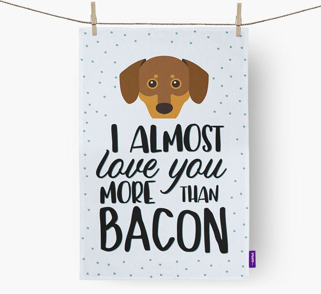 'More Than Bacon' Tea Towel with Chiweenie Icon