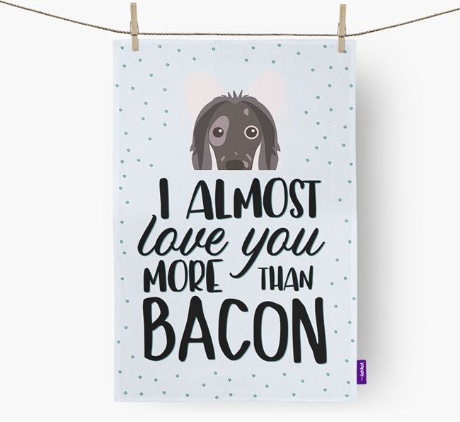 'More Than Bacon' Tea Towel with Hairless Chinese Crested Icon