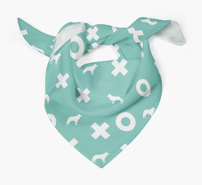 X's and O's Pattern Dog Bandana with Dog Silhouettes