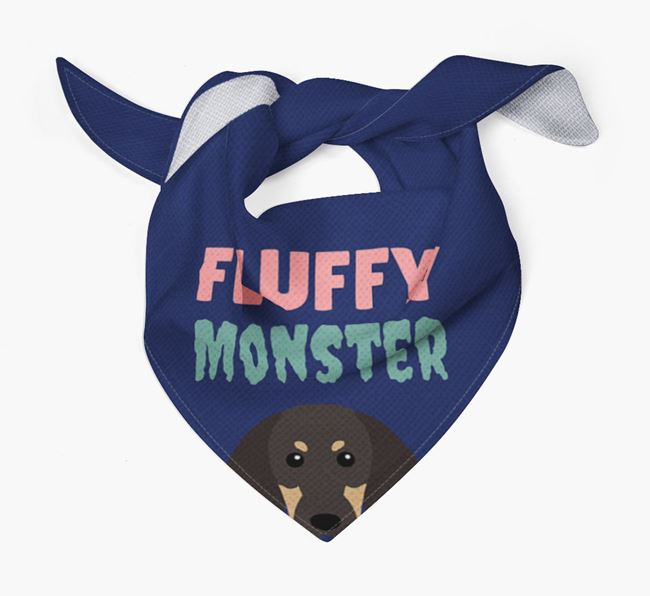 'Fluffy Monster' Dog Bandana for your Black and Tan Coonhound