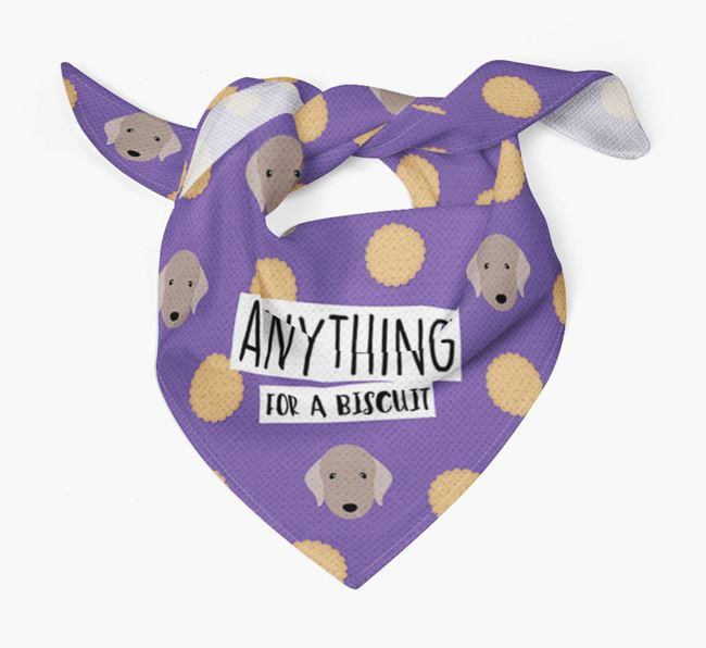 'Anything For A Biscuit' Bandana with Bedlington Terrier Icons