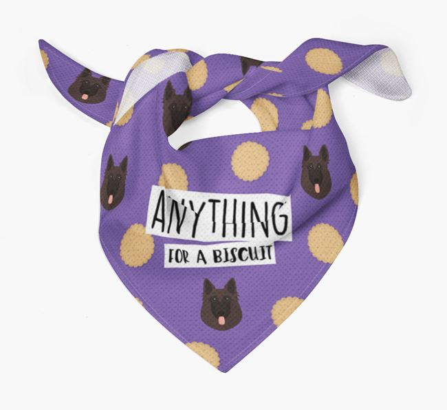 'Anything For A Biscuit' Bandana with Belgian Shepherd Icons