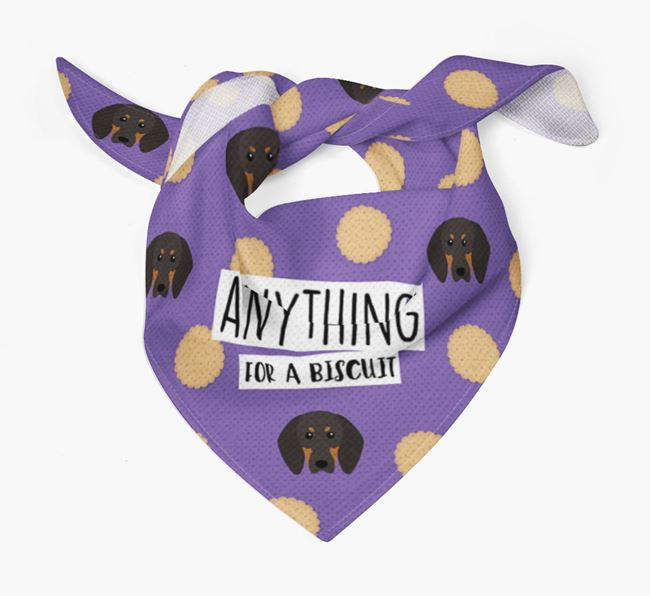 'Anything For A Biscuit' Bandana with Black and Tan Coonhound Icons