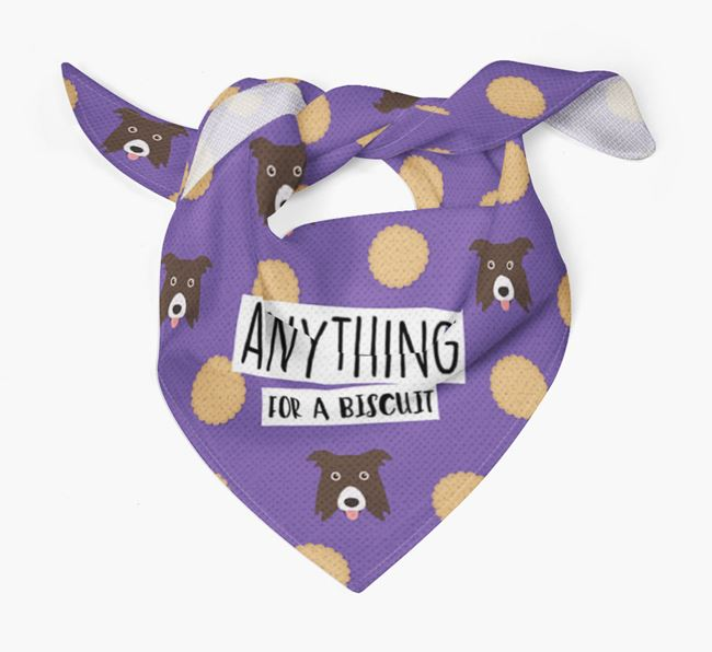 'Anything For A Biscuit' Bandana with Border Collie Icons
