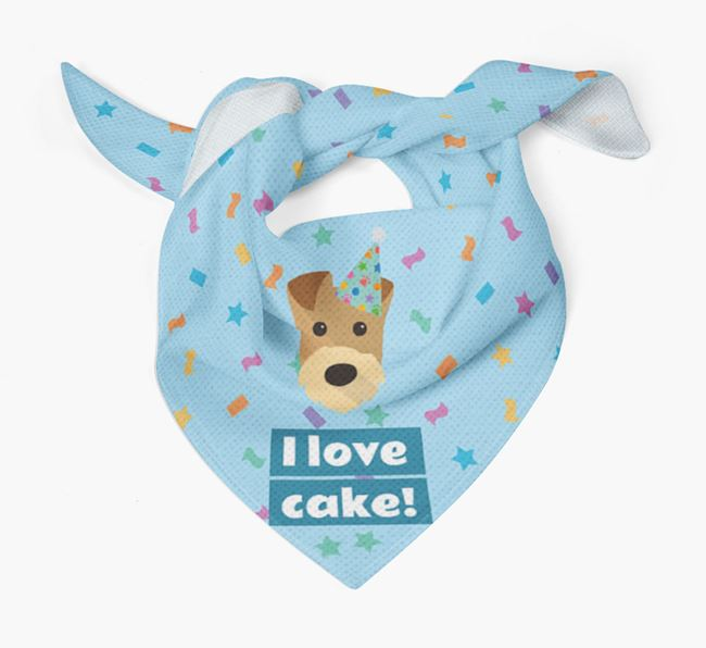 'I Love Cake' Birthday Dog Bandana for your Airedale Terrier