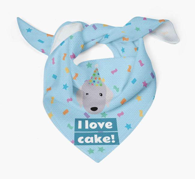 'I Love Cake' Birthday Dog Bandana for your Bedlington Terrier