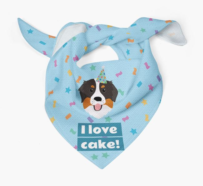 'I Love Cake' Birthday Dog Bandana for your Bernese Mountain Dog