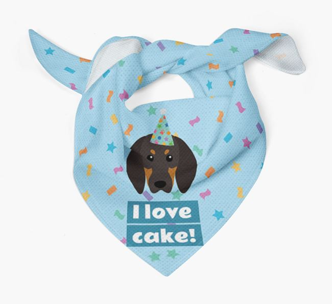 'I Love Cake' Birthday Dog Bandana for your Black and Tan Coonhound