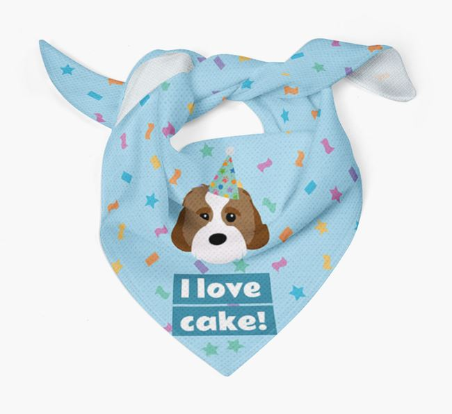 'I Love Cake' Birthday Dog Bandana for your Cavachon