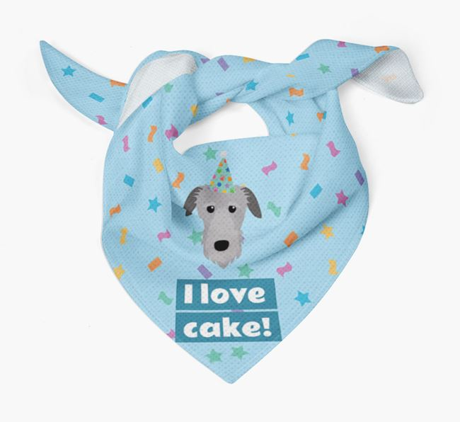 'I Love Cake' Birthday Dog Bandana for your Deerhound