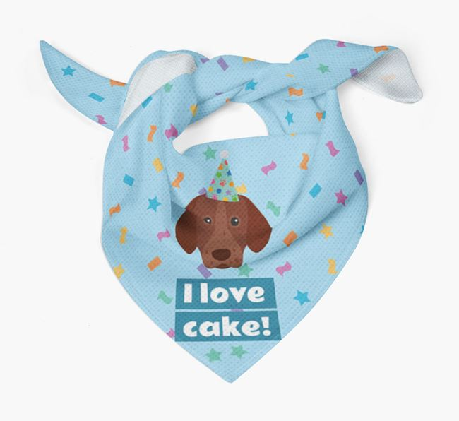 'I Love Cake' Birthday Dog Bandana for your German Shorthaired Pointer