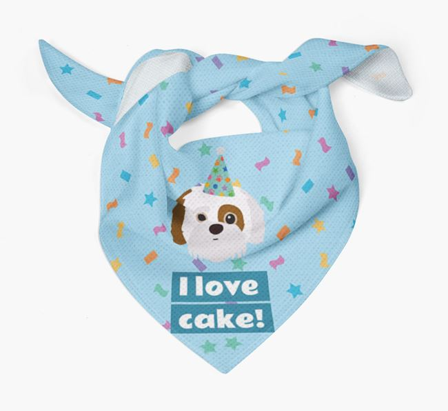 'I Love Cake' Birthday Dog Bandana for your Jack-A-Poo