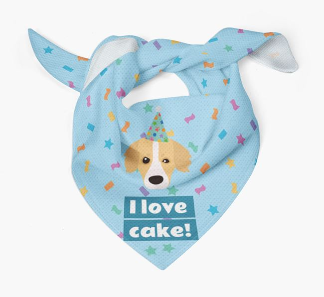 'I Love Cake' Birthday Dog Bandana for your Kokoni