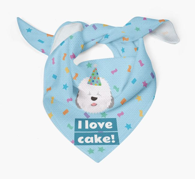 'I Love Cake' Birthday Dog Bandana for your Old English Sheepdog