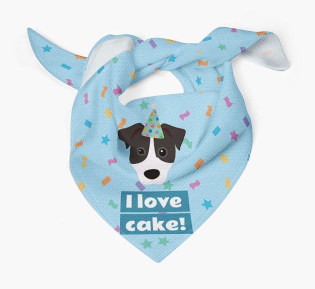 'I Love Cake' Birthday Dog Bandana for your Parson Russell Terrier