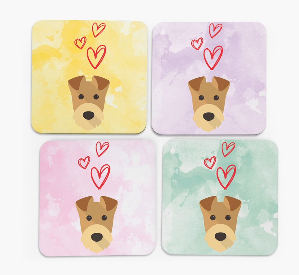 Heart Design with Airedale Terrier Icon Coasters in Set of 4