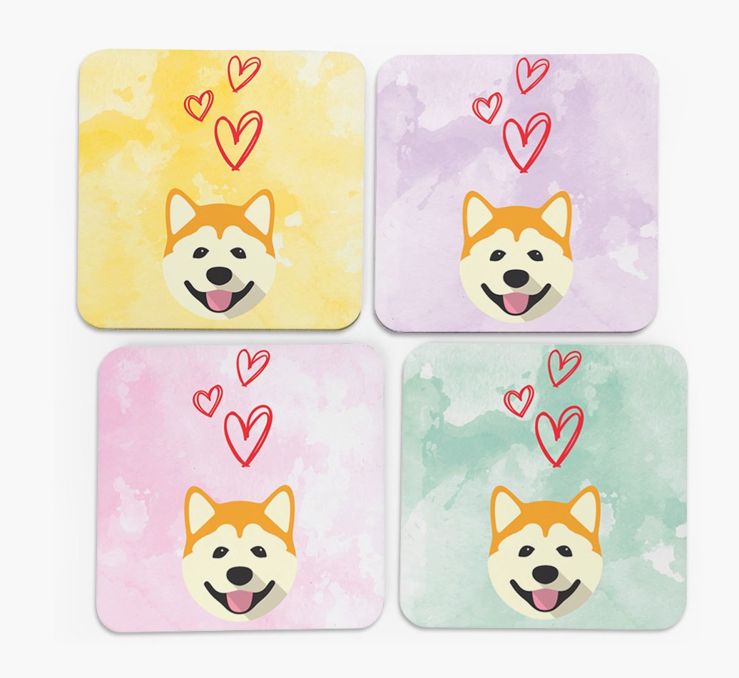 Heart Design with Akita Icon Coasters in Set of 4