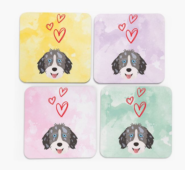 Heart Design with Aussiedoodle Icon Coasters - Set of 4