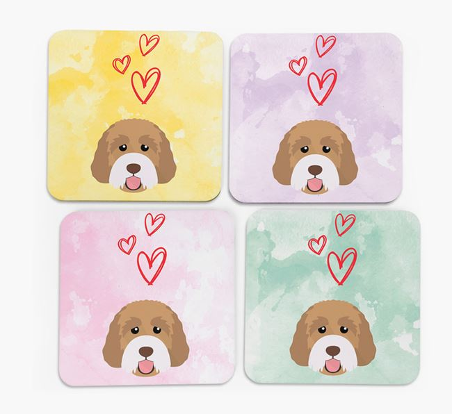 Heart Design with Australian Labradoodle Icon Coasters - Set of 4