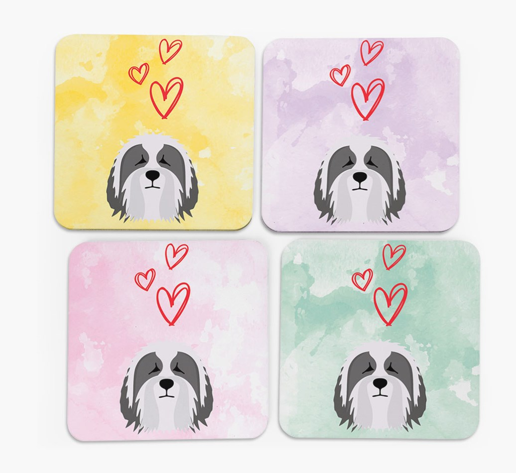 Heart Design with Bearded Collie Icon Coasters in Set of 4