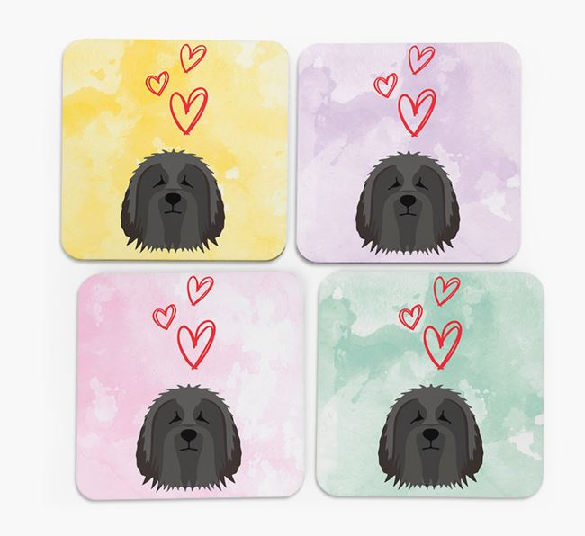 Heart Design with Bearded Collie Icon Coasters - Set of 4