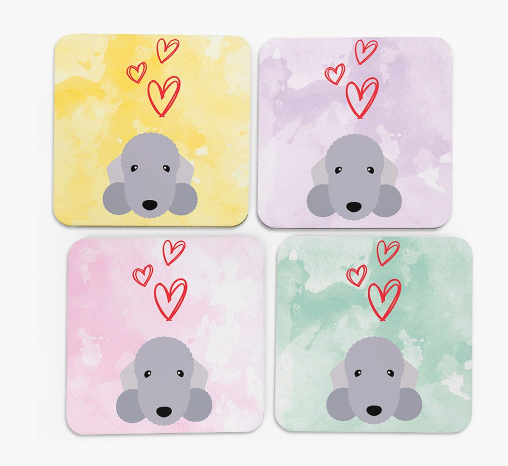 Heart Design with Bedlington Terrier Icon Coasters in Set of 4