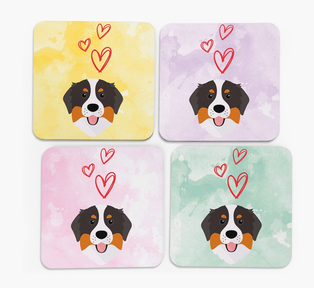 Heart Design with Bernese Mountain Dog Icon Coasters in Set of 4