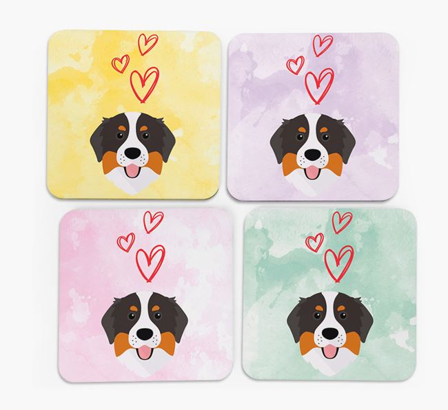 Heart Design with Bernese Mountain Dog Icon Coasters - Set of 4