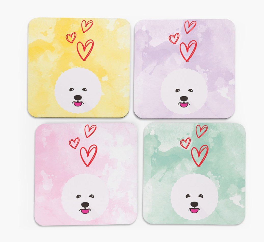 Heart Design with Bichon Frise Icon Coasters in Set of 4