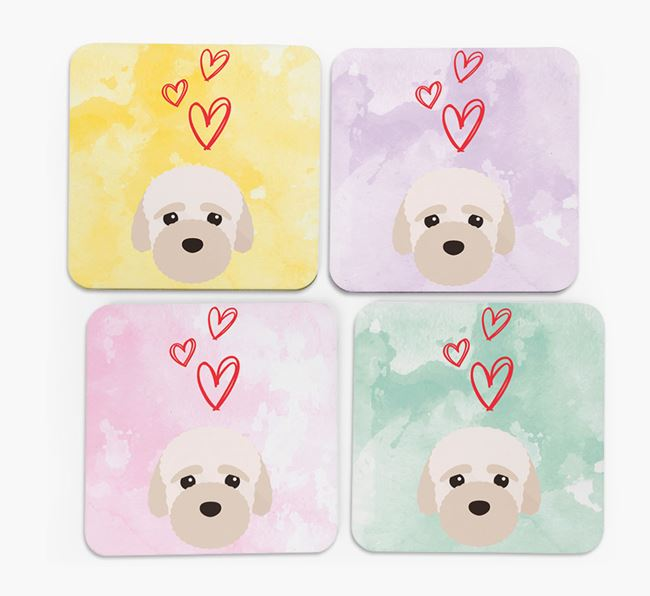 Heart Design with Bich-poo Icon Coasters - Set of 4
