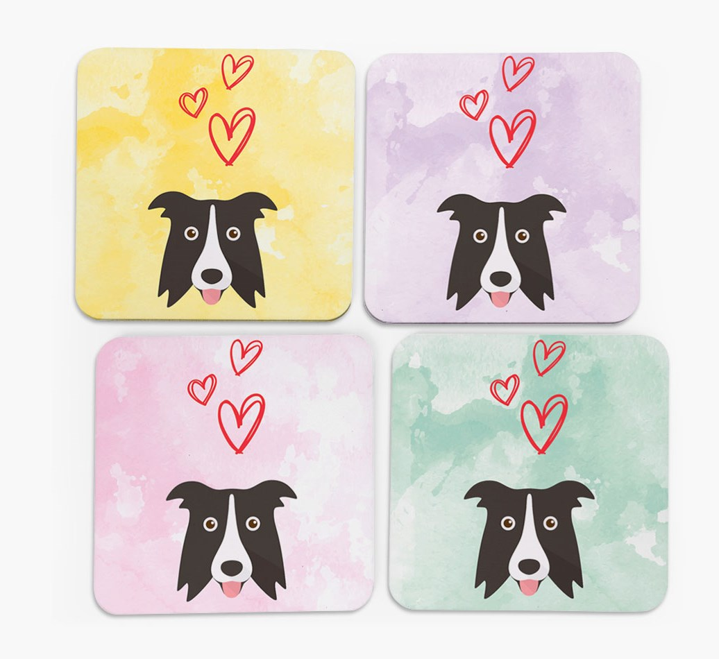Heart Design with Border Collie Icon Coasters in Set of 4