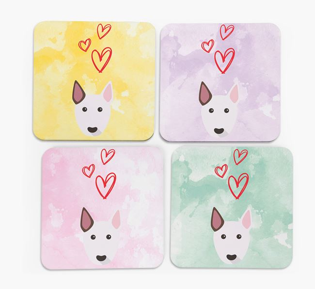 Heart Design with Bull Terrier Icon Coasters - Set of 4