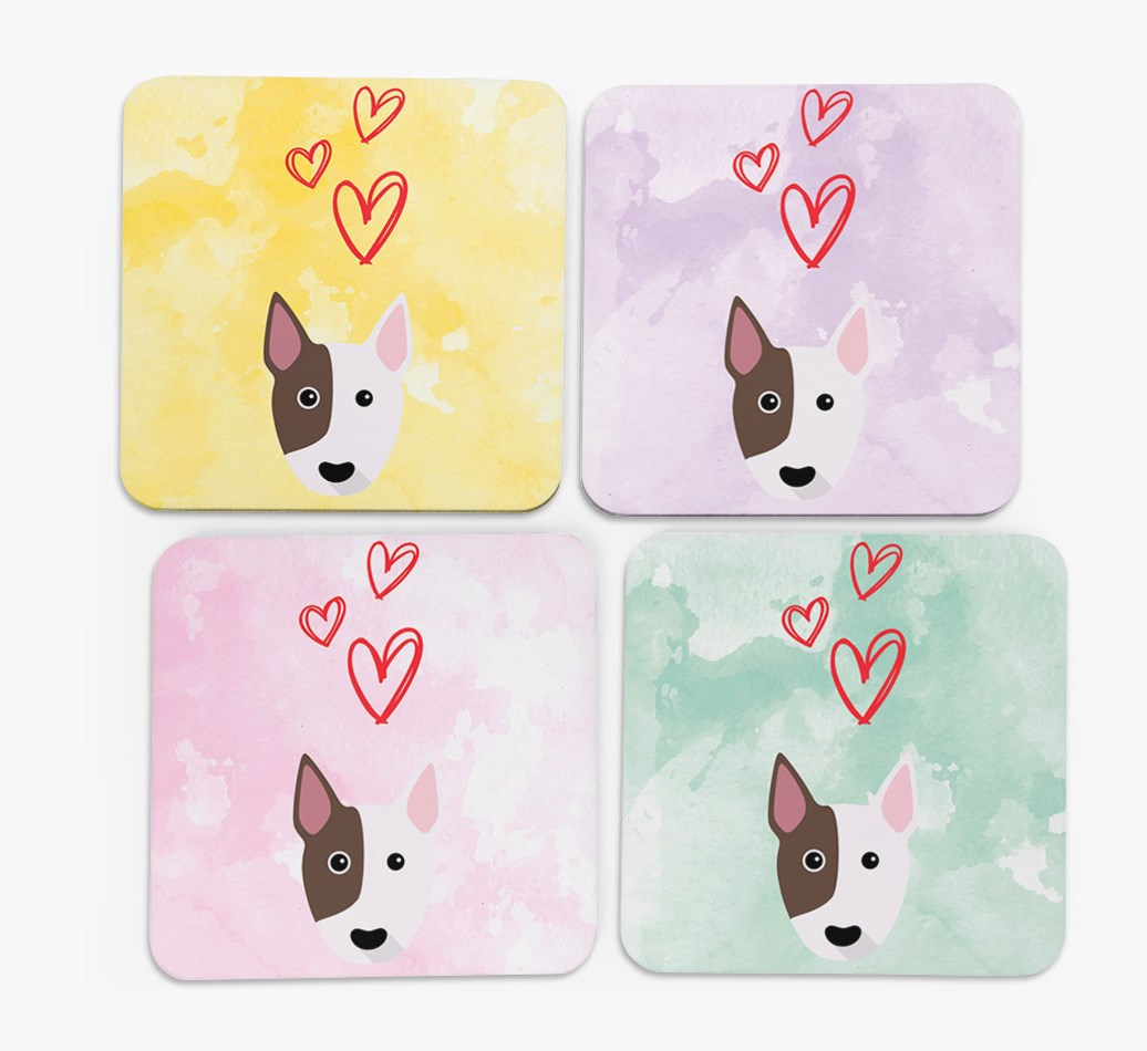 Heart Design with Bull Terrier Icon Coasters in Set of 4