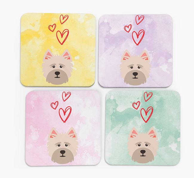 Heart Design with Cairn Terrier Icon Coasters - Set of 4