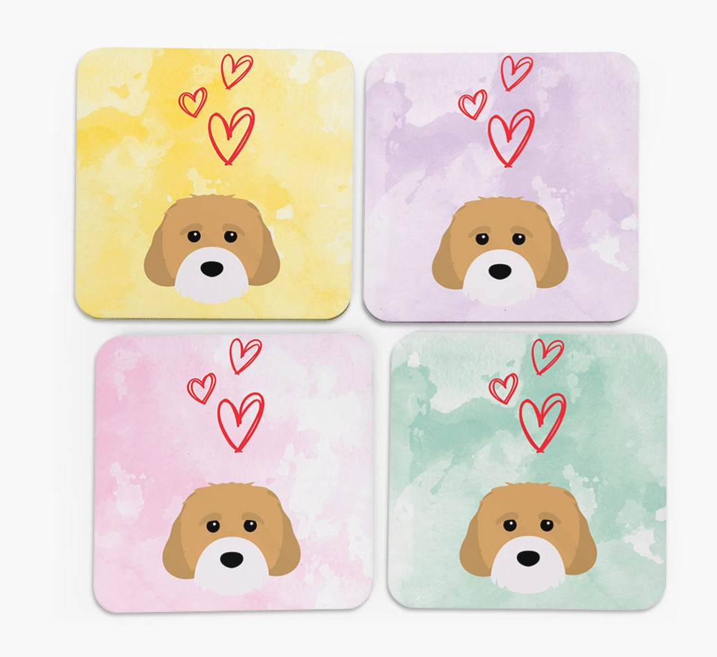 Heart Design with Cavachon Icon Coasters in Set of 4