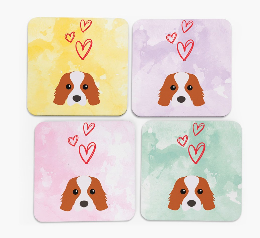 Heart Design with Cavalier King Charles Spaniel Icon Coasters in Set of 4