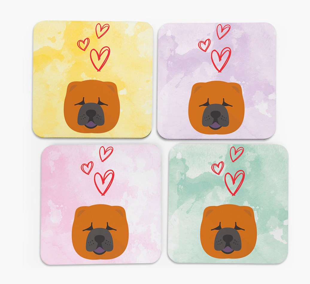 Heart Design with Chow Chow Icon Coasters in Set of 4