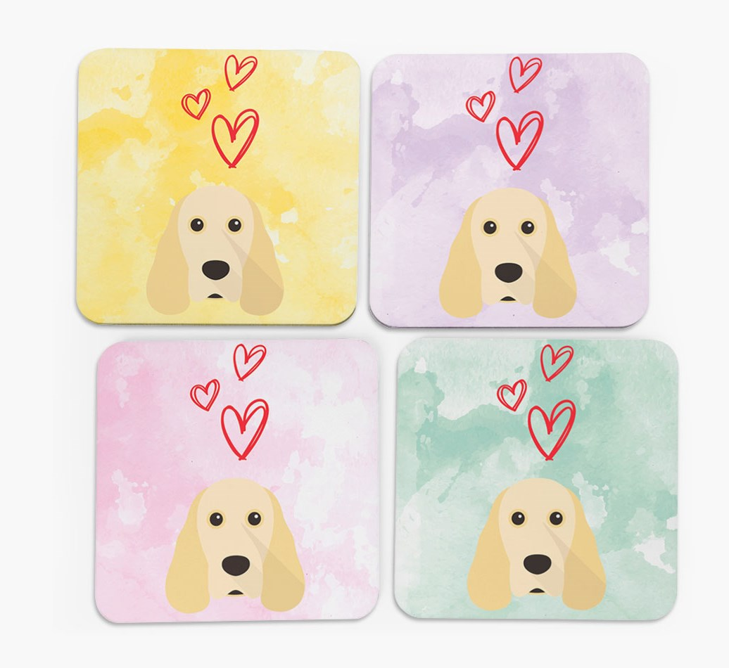 Heart Design with Cocker Spaniel Icon Coasters in Set of 4